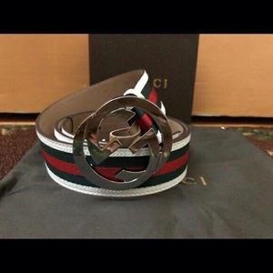 Gucci belt white green red
